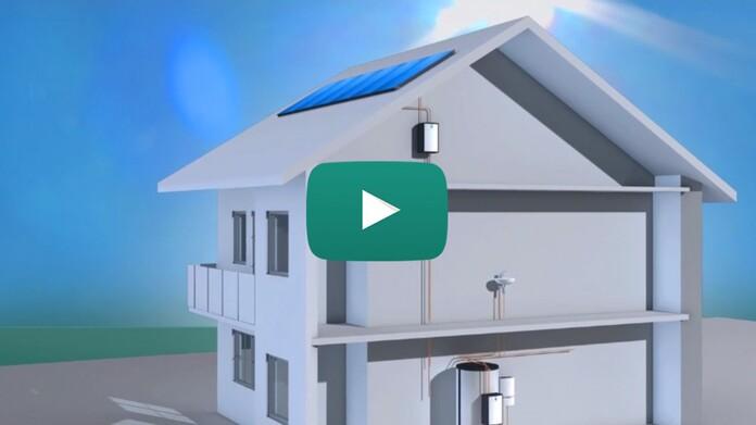 Imagen 3D de instalación solar con auroFLOW plus en vivienda unifamiliar