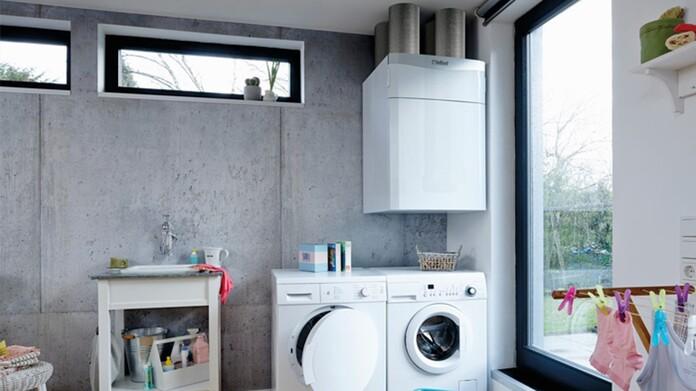 Sistema de ventilación con recuperación de calor instalado en la lavandería de una casa